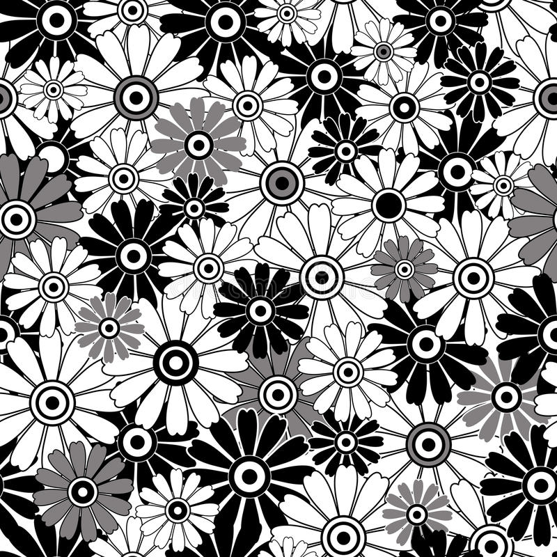 White-black repeating floral pattern royalty free stock photo