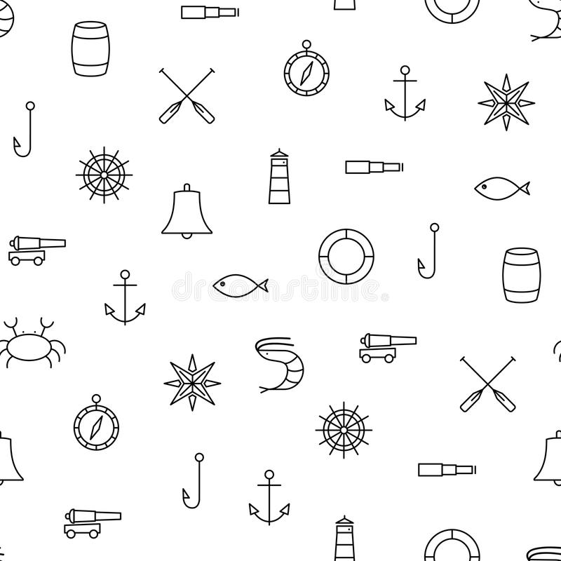 White and black ship & sea line icons seamless pattern. White and black ship & sea line icons seamless vector pattern stock illustration