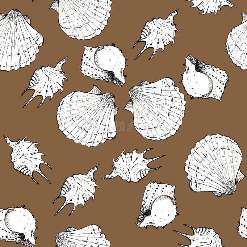 White and black sketch illustration of seashells on trendy Dark Cheese color Panton 2019-2020 background. Seamless pattern vector illustration