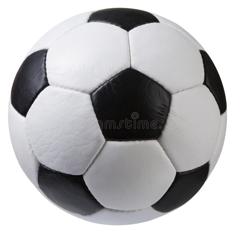White with black soccer ball on a white background, classic design royalty free stock photos