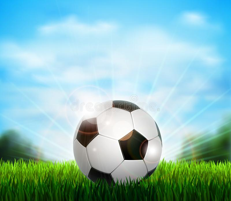 White and black soccer ball on the green glade with grass. Background with blue sky, sunshine and sport equipment for stock illustration