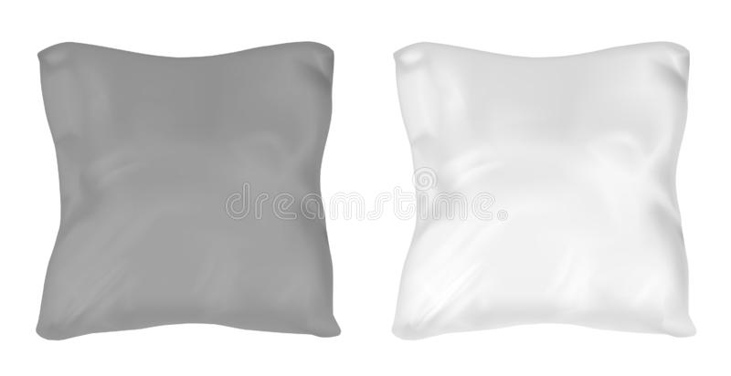 White and black square pillow. Vector mock up.  vector illustration