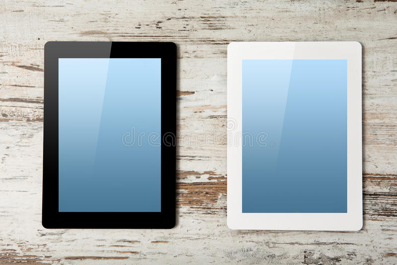 White And Black Tablet Computer With Blue Screen Stock Image