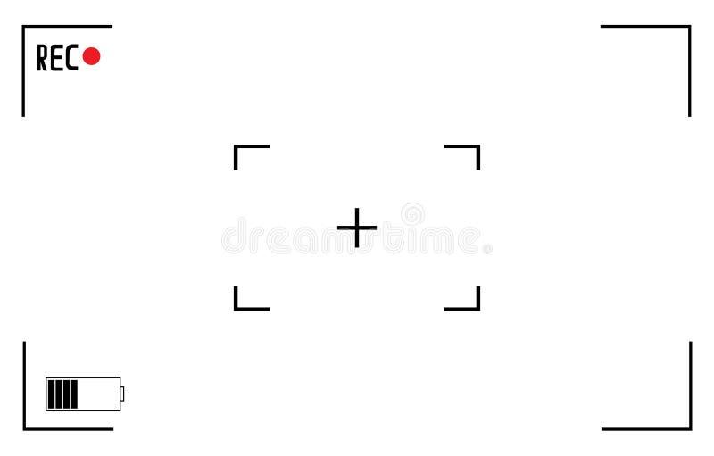 White and black viewfinder camera recording. Modern camera focusing screen. Vector illustration. White and black viewfinder camera. Modern camera focusing screen royalty free illustration