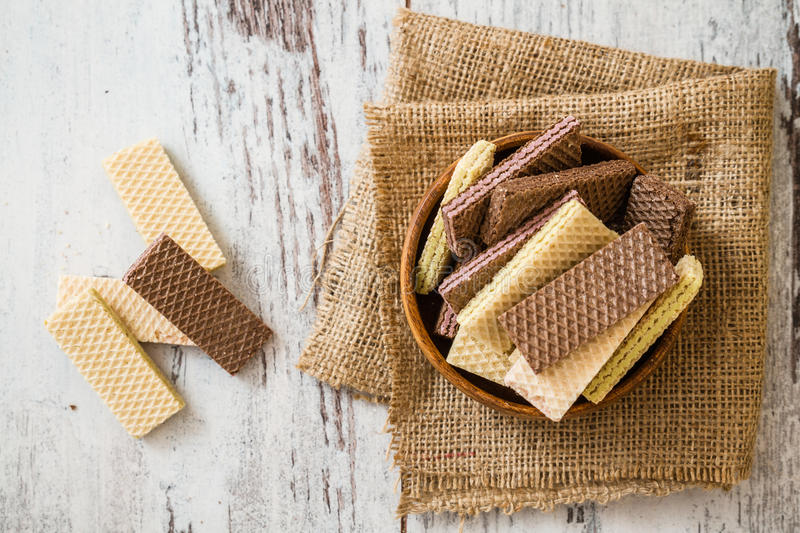 White and Black Wafer Biscuits royalty free stock photos