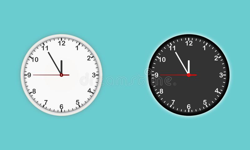 White and black wall clock icon vector set. Modern Design template closeup in vector vector illustration