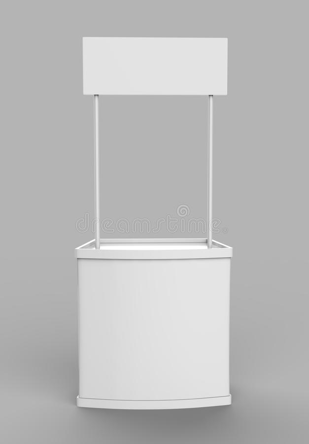White blank advertising POS POI PVC Promotion counter booth, Retail Trade Stand Isolated on the white background. Mock Up Template. For Your Design stock illustration