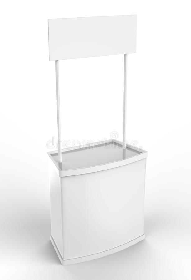White blank advertising POS POI PVC Promotion counter booth, Retail Trade Stand Isolated on the white background. Mock Up Template. For Your Design vector illustration