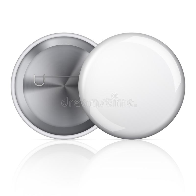 White blank badging round button badge isolated realistic vector template. Universal mockup of white badge. stock illustration