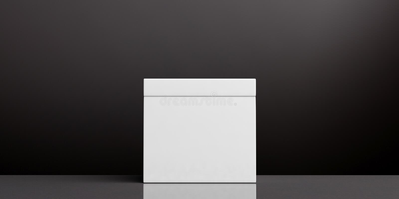 White blank ballot box on black background, copy space. 3d illustration. Elections concept. White blank ballot box on black background, copy space. 3d royalty free illustration