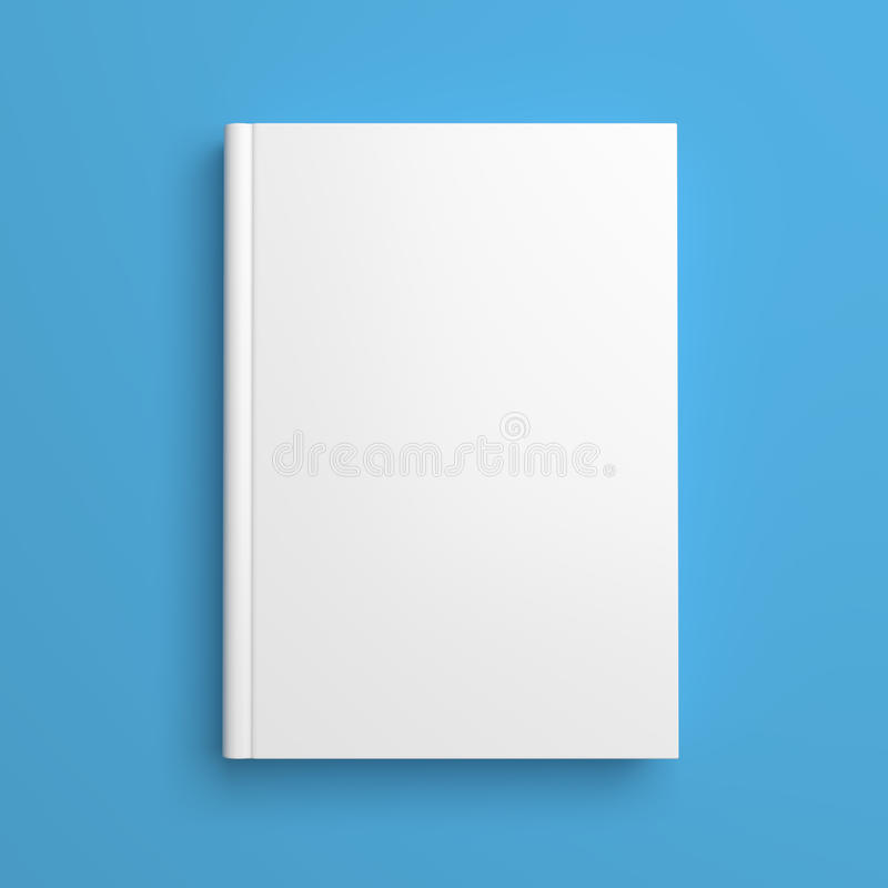 Blank Book Cover Background : White blank book cover isolated on blue stock illustration