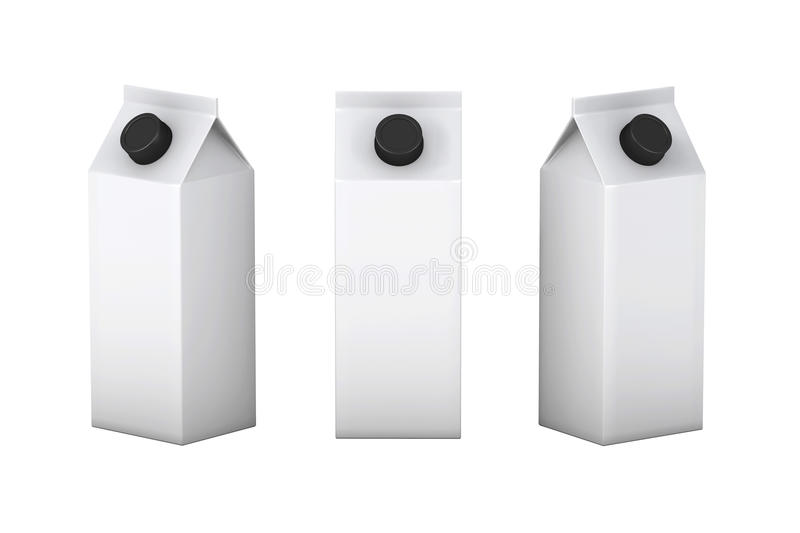 White blank box with black lid packaging for milk and juice, cl. White blank box with black lid packaging for milk juice or another kind of liquid , clipping vector illustration