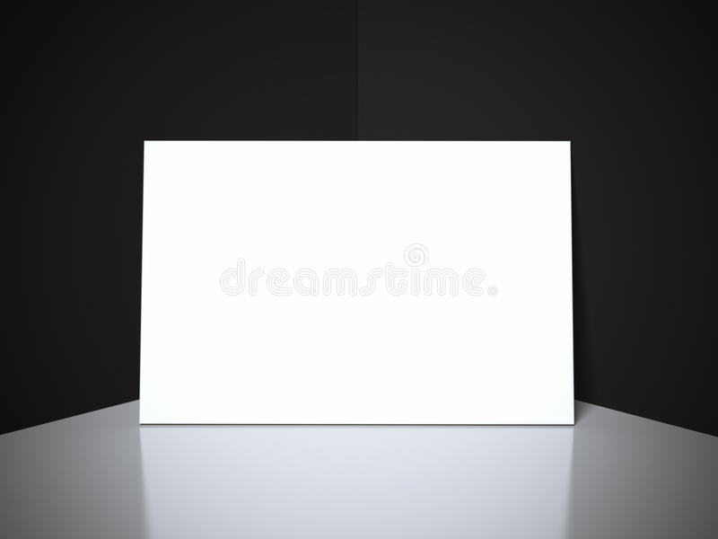 White blank business card in black studio. With reflective floor stock photos