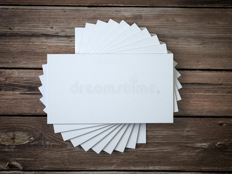 White blank business cards mockup template on the wooden table vector illustration