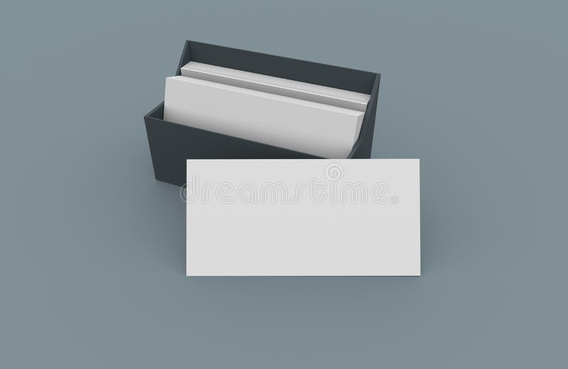 White blank business name card, gift ticket, pass, present close up on simple background. Copy space corporate identity package Te. 3D illustration of white vector illustration