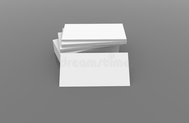 White blank business name card, gift ticket, pass, present close up on simple background. Copy space corporate identity package Te. 3D illustration of white stock illustration