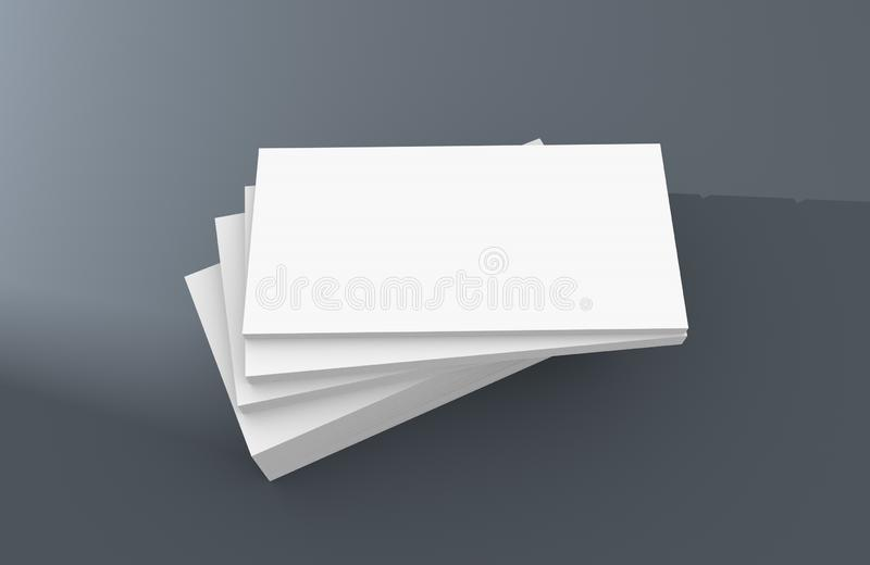 White blank business name card, gift ticket, pass, present close up on simple background. Copy space corporate identity package Te. 3D illustration of white royalty free illustration