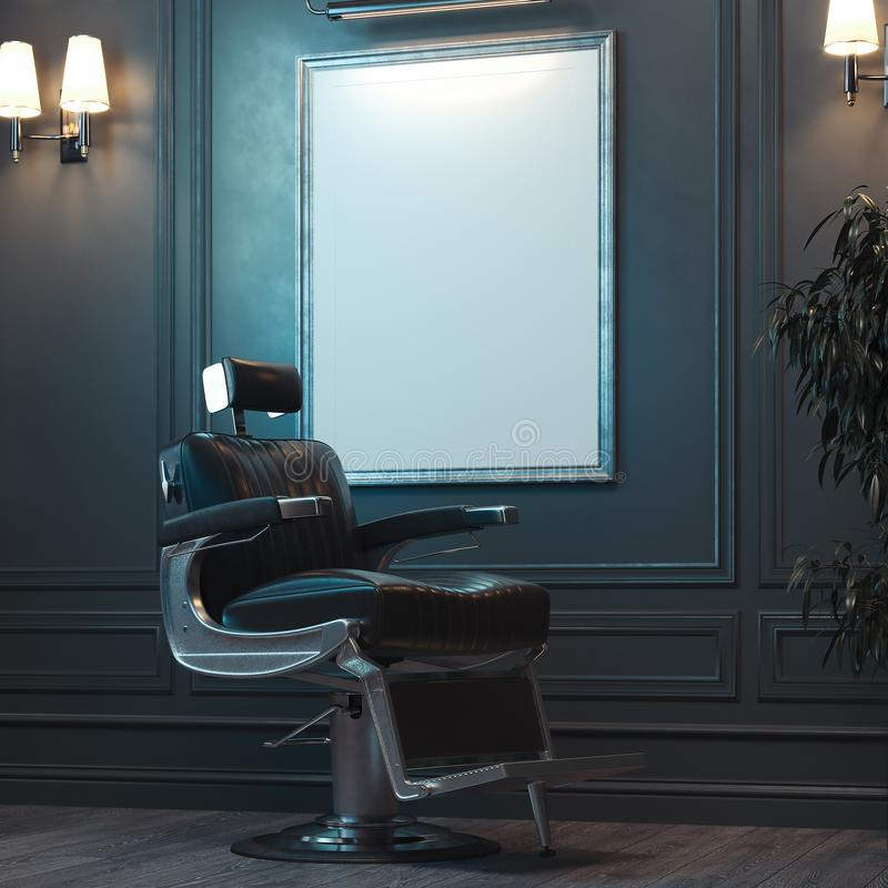 White blank canvas poster with illumination in modern barber shop, 3d rendering. royalty free stock photos