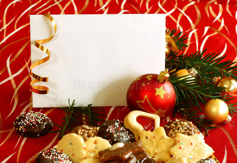 white blank card on christmas composition stock photography