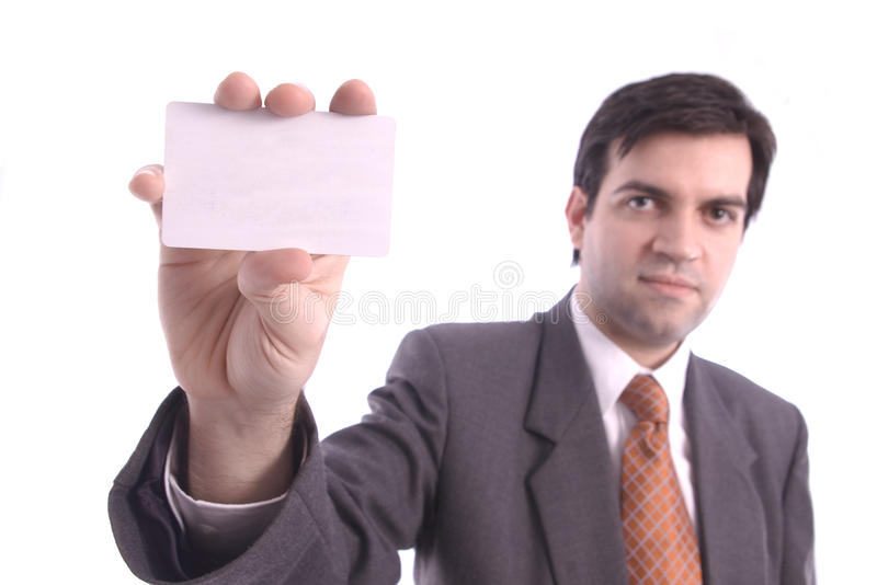 White blank card holded by a businessman. Isolated over white background stock photo