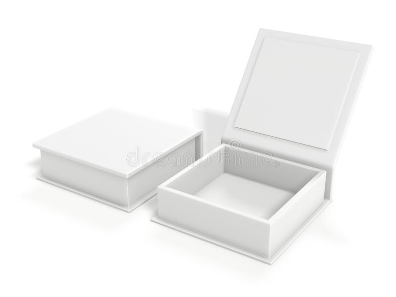 White blank cardboard box isolated on white background. Mock up template. 3d rendering.  vector illustration