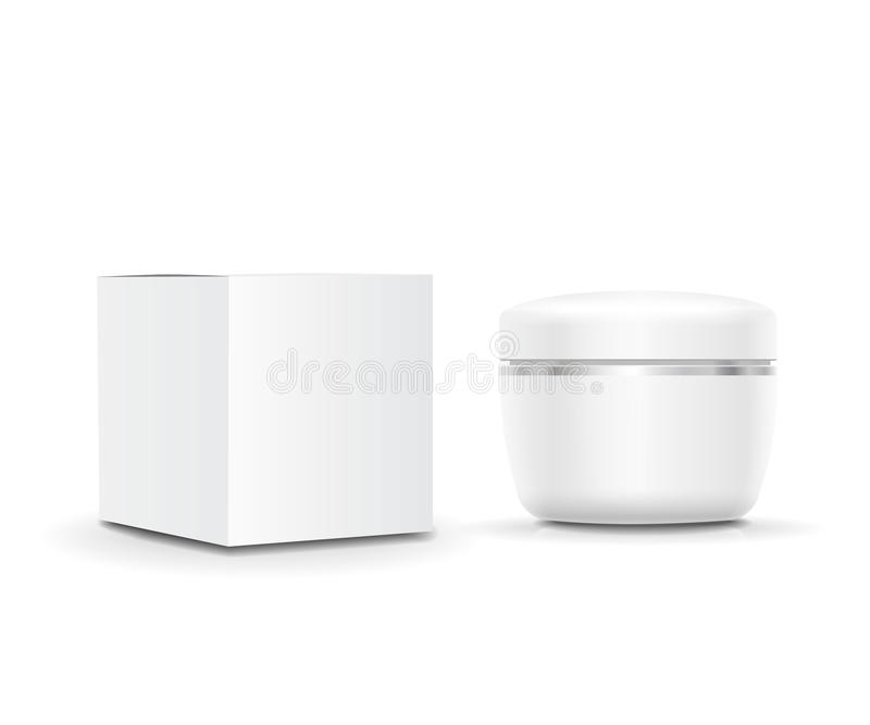 White blank cosmetic Cream cream container and packaging. Vector illustration. White blank cosmetic Cream cream container and packaging box. Vector illustration vector illustration