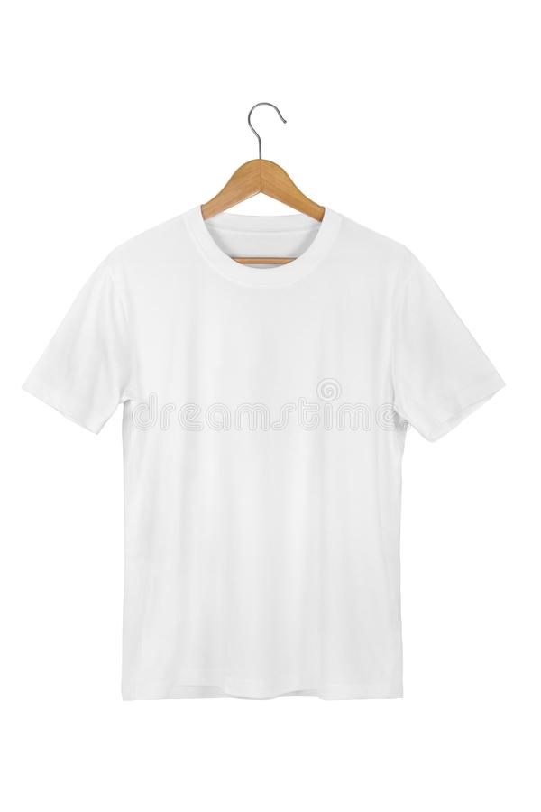 White Blank Cotton Tshirt with wooden hanger isolated on white stock images