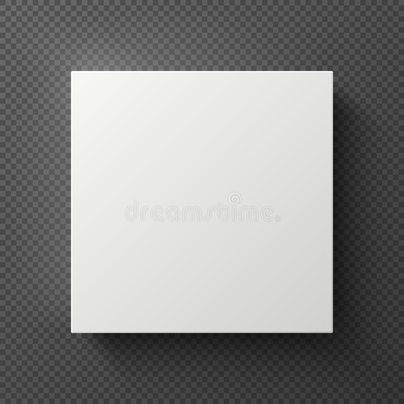 White blank 3d square box with shadow. Sample cardboard container top view. Vector mockup isolated royalty free illustration