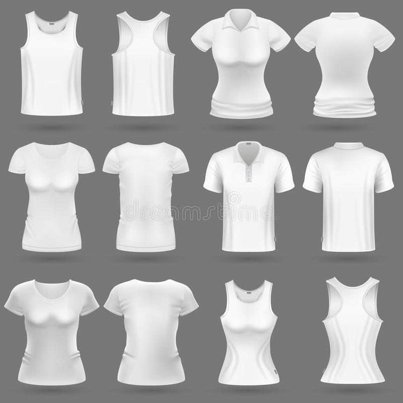 White blank 3d t-shirt vector templates for man and woman fashion design. Woman shirt and wear for sport illustration stock illustration