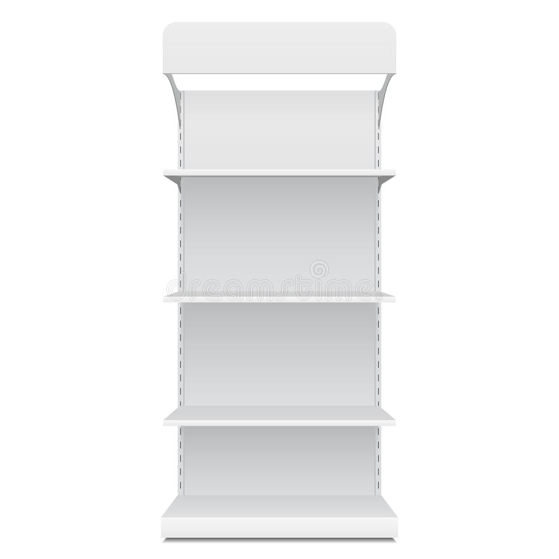 White Blank Empty Showcase Displays With Retail Shelves Front View 3D Products On White Background Isolated. royalty free illustration
