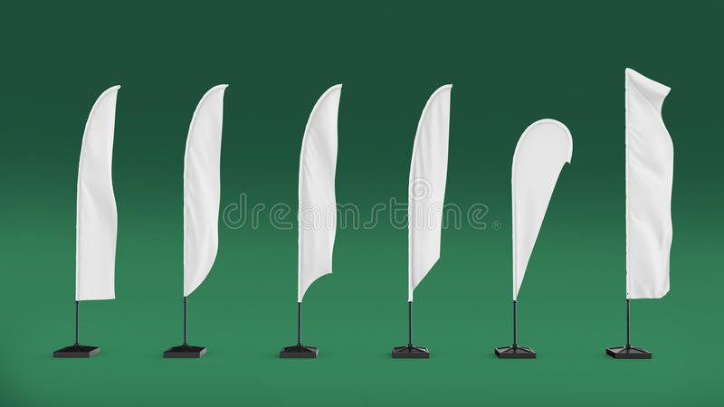 White Blank Expo Banner Stand beach flag. Trade show expo event booth. render illustration template mockup for your desi. White Blank Expo Banner Stand beach stock illustration