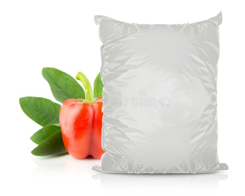 White Blank Foil Food Bag. Packaging For Pepper, Spices, Sachet, Chips. Plastic Pack Template Ready For Your Design. (with clipping work path stock photo