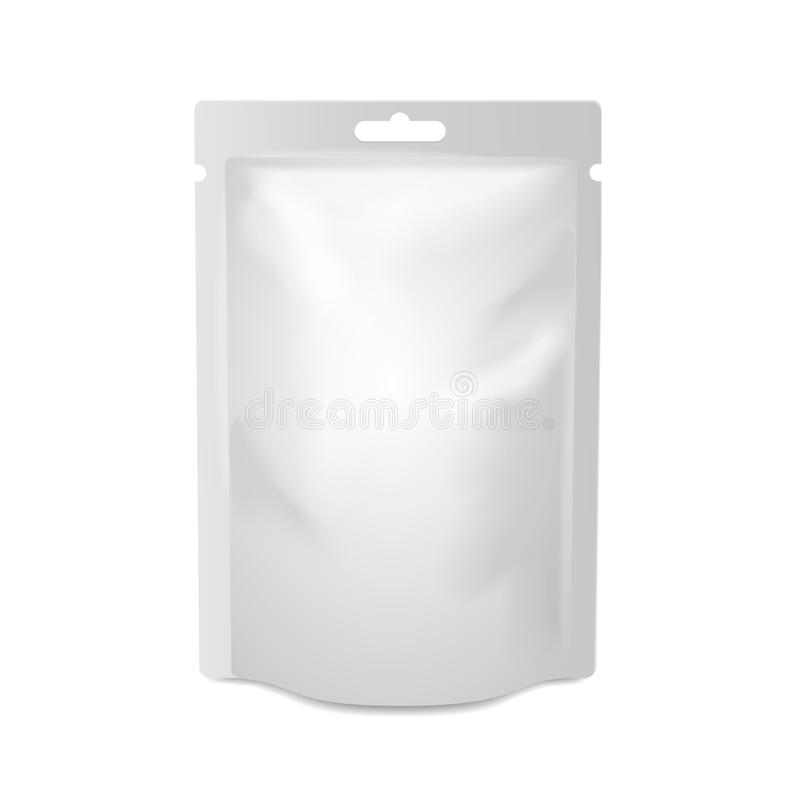 White blank foil food or drink bag packaging with vector illustration