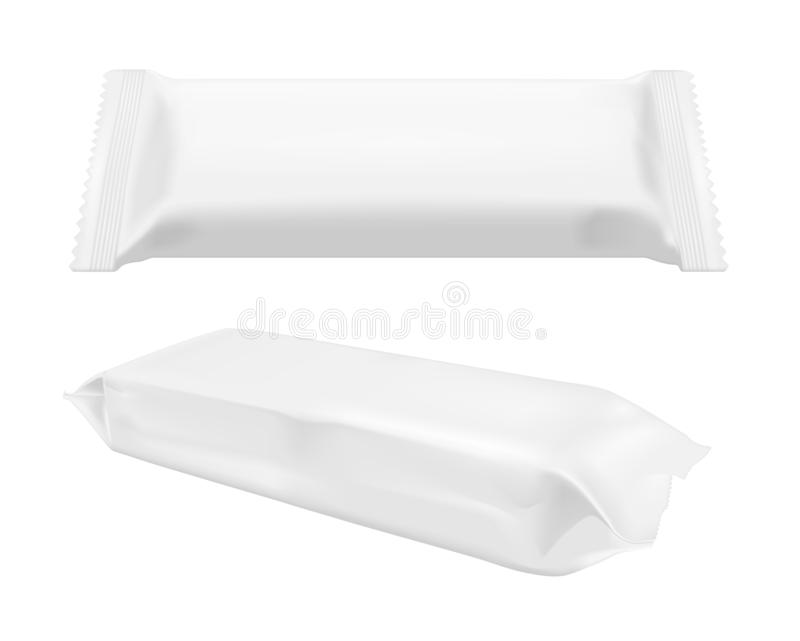 White blank foil food snack pack for chips, candy and other products. Wet wipes packaging.  vector illustration