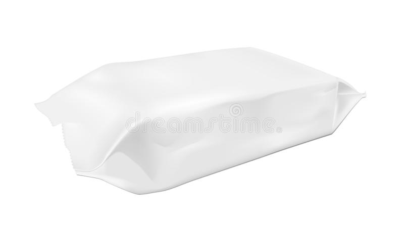 White blank foil food snack pack for chips, candy and other products. Wet wipes packaging.  royalty free illustration