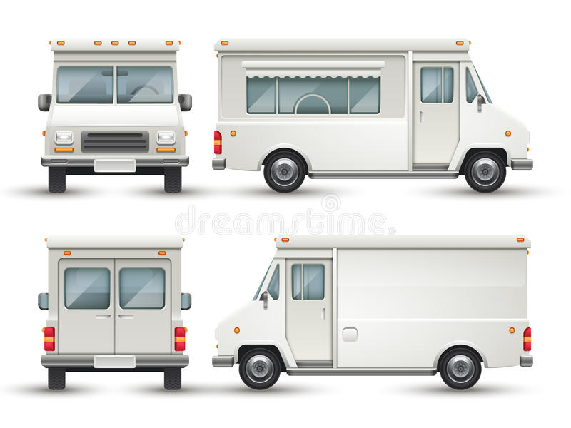 White blank food car, commercial truck isolated royalty free illustration