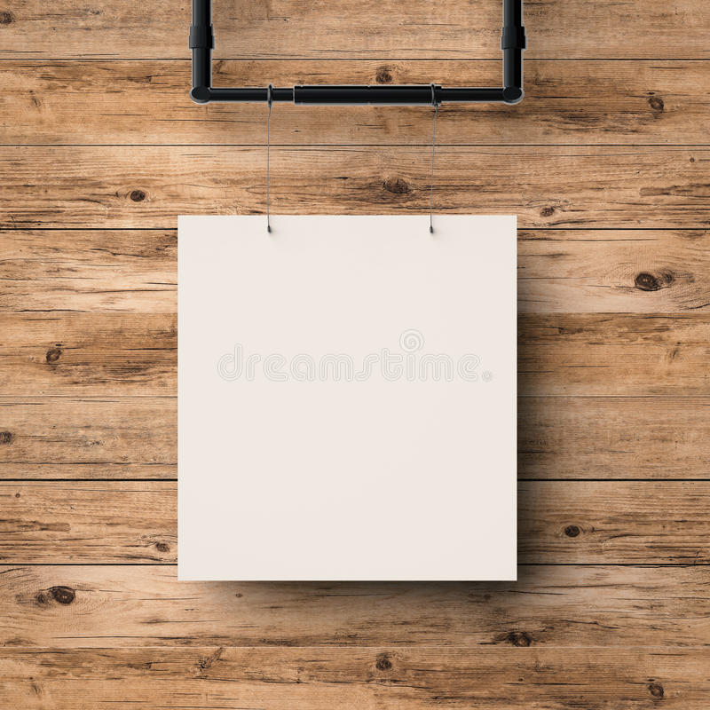 White blank frame hanging on timber wall. Background royalty free stock image