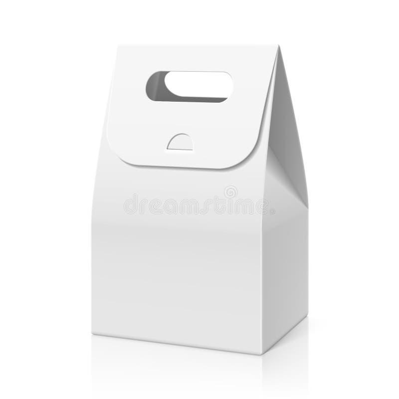 White blank hand cake, bread packaging paper bag stock illustration