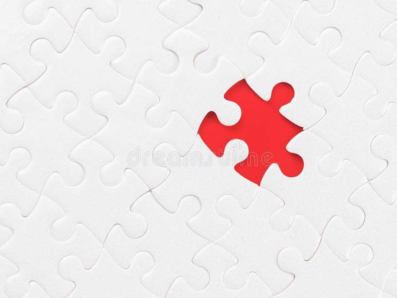 White blank jigsaw puzzle without one piece on red with clipping path on the missing piece royalty free stock images
