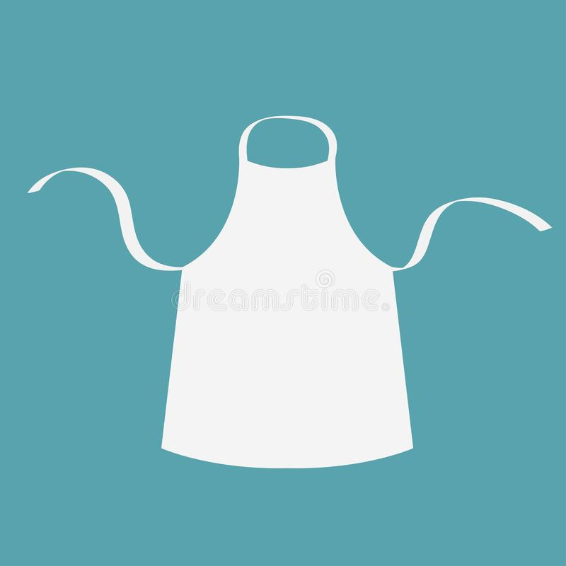 White blank kitchen cotton apron. Uniform for cook chef or baker. Cooking icon. Menu card template. Flat design. Blue background. stock illustration
