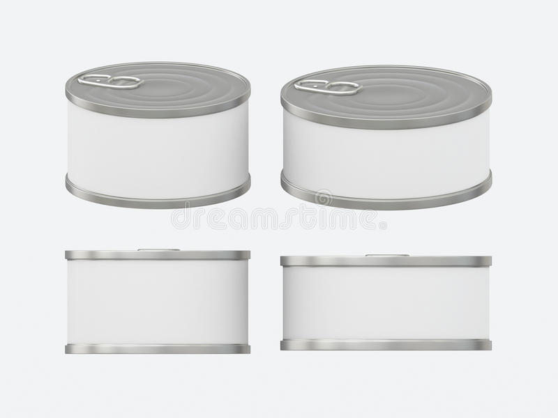 White blank label tin can set with pull tab, clipping path included royalty free illustration