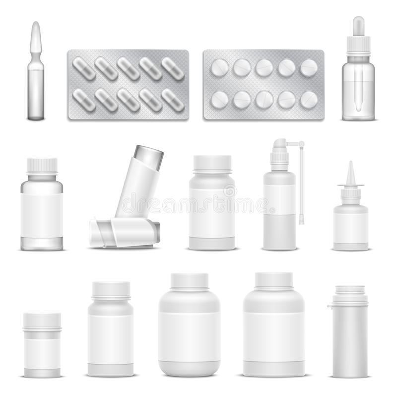 White blank medicine pharmaceutical packaging vector mockups. Bottles spray and drugs stock illustration