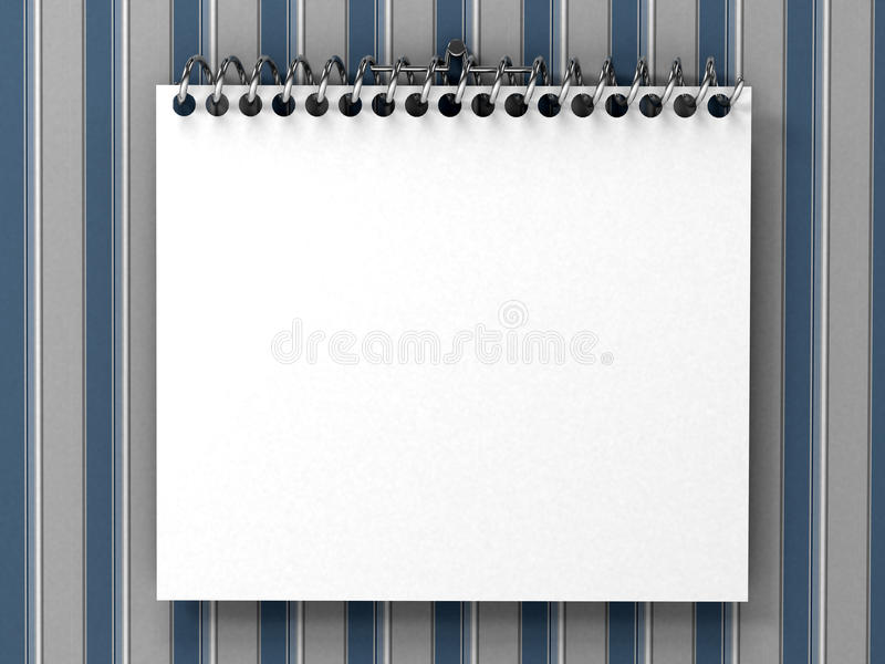 White blank notepad over striped wallpaper vector illustration