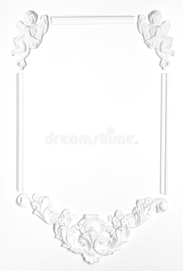White Blank old frame of gypsum in the Renaissance style. Molding royalty free stock photo