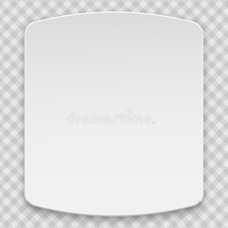 White blank paper box 3d top of view, mockup model is on squared background for your design, logo or advertisement vector illustration