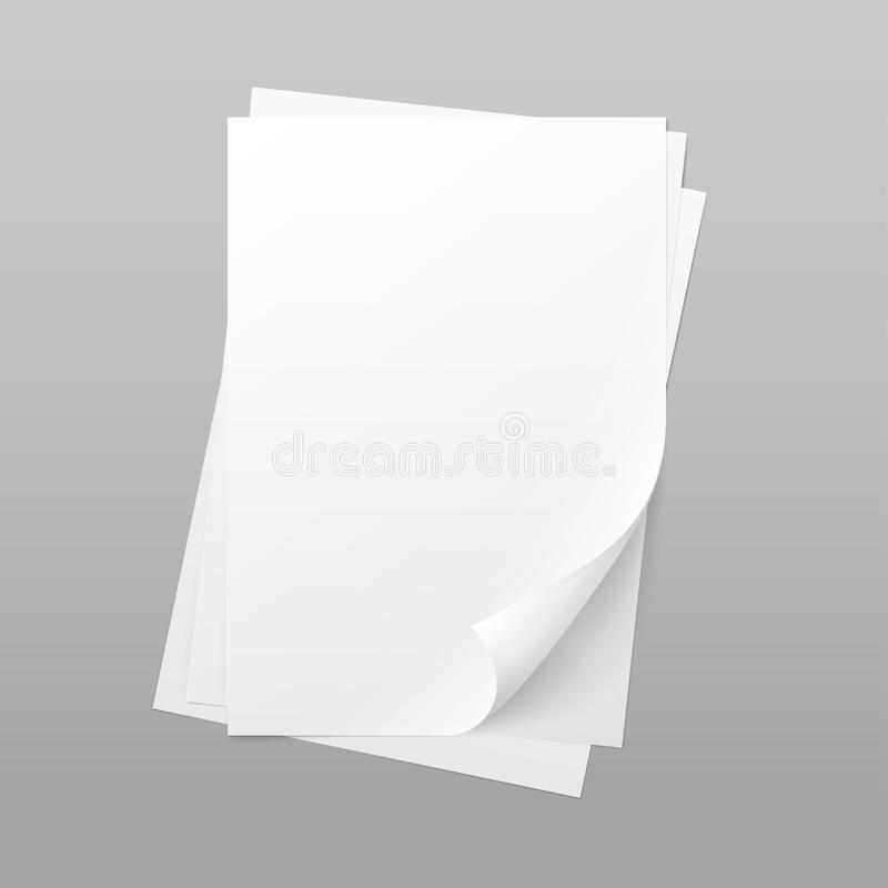 White Blank Paper Page Sheet with Corner Curl. Vector White Blank Paper Page Sheet with Corner Curl on Background stock illustration