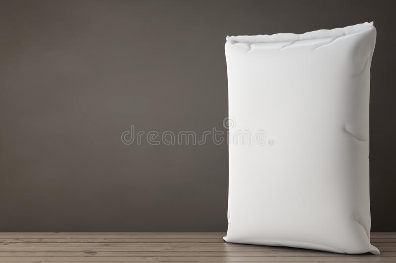 White Blank Paper Sack Cement Bag. 3d Rendering. White Blank Paper Sack Cement Bag on a Wooden Floor. 3d Rendering royalty free illustration