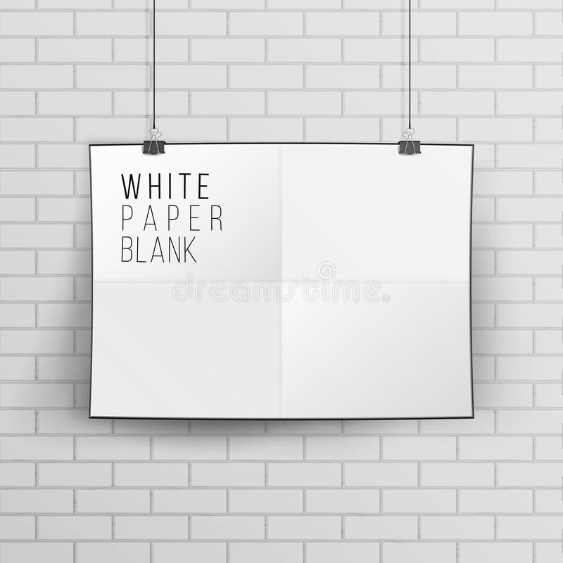 White Blank Paper Wall Poster Mock up Template Vector. Realistic Illustration. Brick Wall. White Blank Paper Wall Poster Mock up Template Vector Illustration royalty free illustration