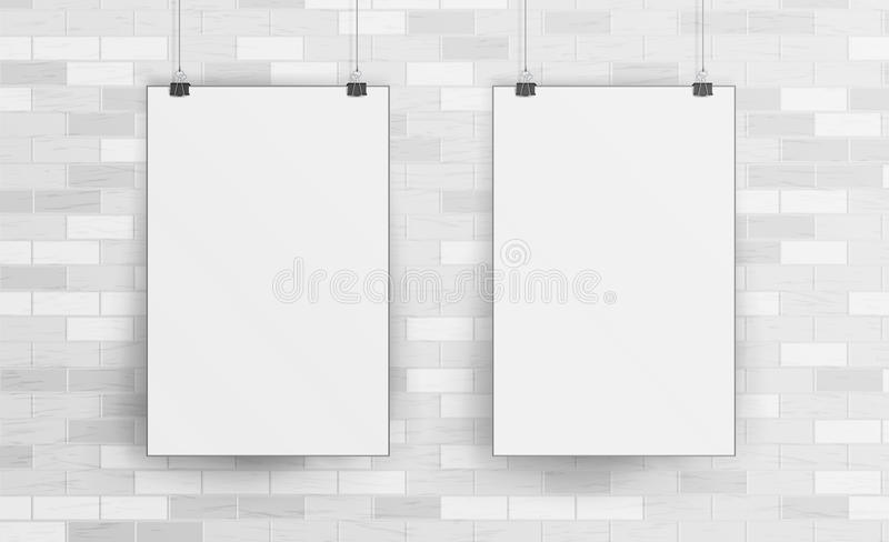 Download White Blank Paper Wall Poster Mock Up Template Vector. Realistic Illustration. Picture Frame On Brick Wall. Front View Stock Vector - Illustration of page, logo: 90720610