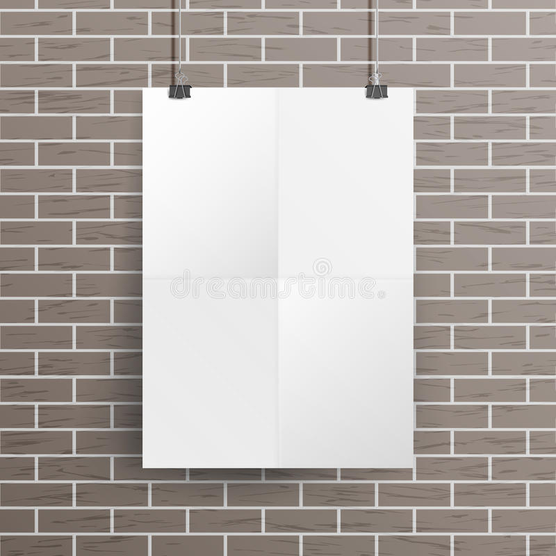 White Blank Paper Wall Poster Mock up Template Vector. Realistic Illustration. Template Frame Design vector illustration